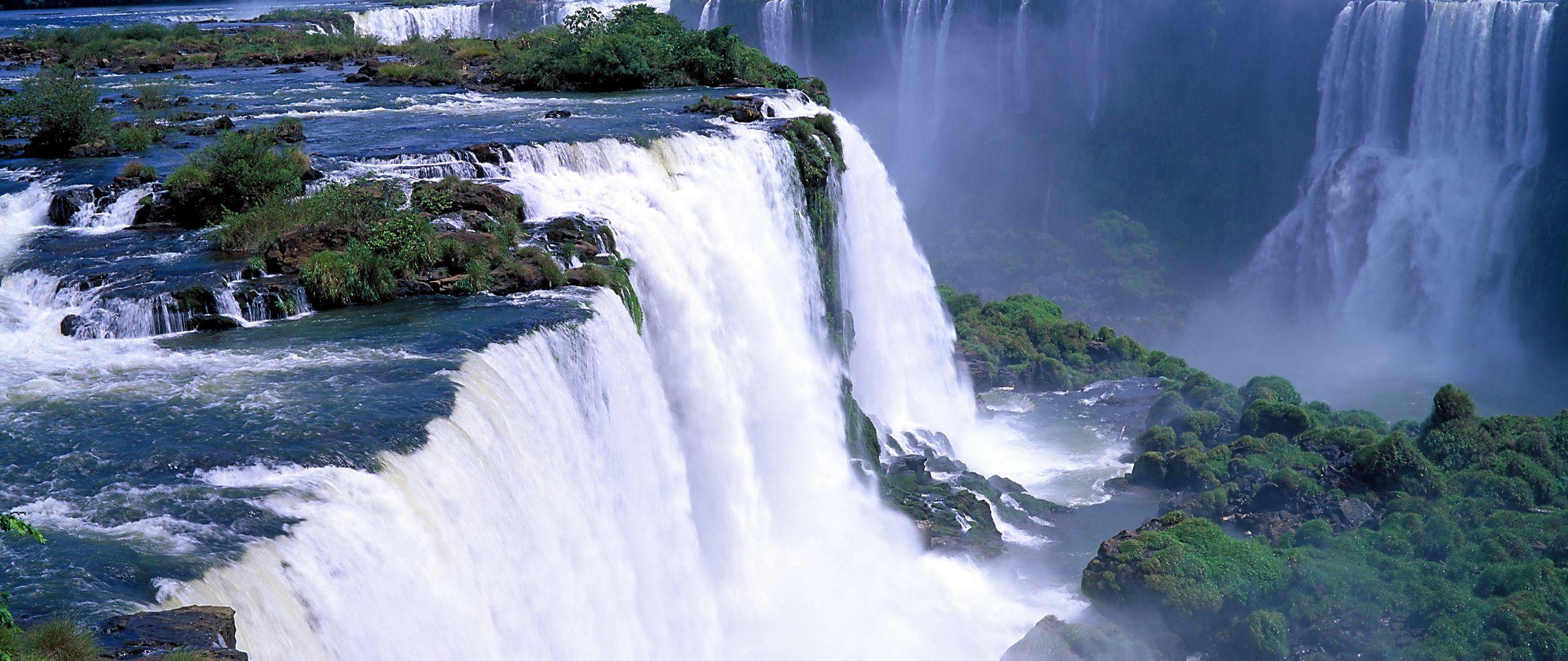 2560x1080 Wallpaper falls, rocks, trees, steam, stream, force, power