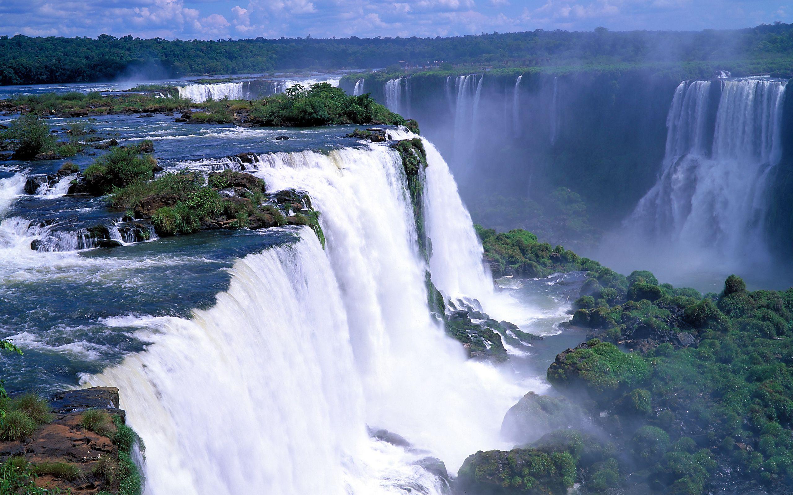 2560x1600 Wallpaper falls, rocks, trees, steam, stream, force, power