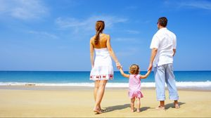 Preview wallpaper family, child, sand, beach, sea, happiness