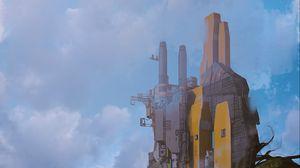 Preview wallpaper fantasy, building, future, rocks, art