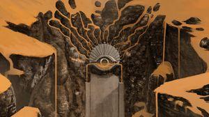 Preview wallpaper fantasy, door, traveler, rocks, desert, art