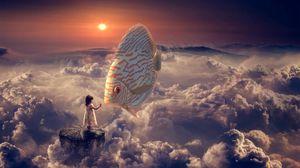 Preview wallpaper fantasy, girl, fish, clouds, sky