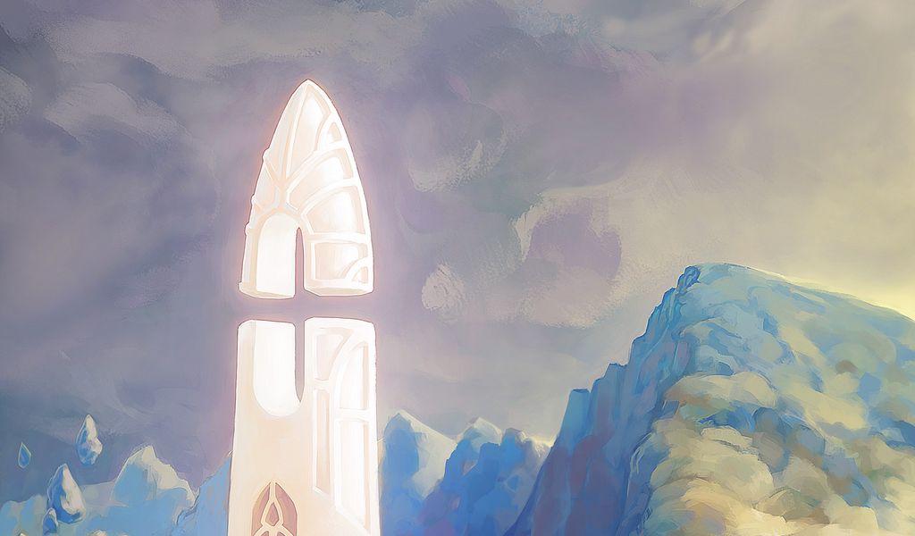 1024x600 Wallpaper fantasy, tower, rocks, stones, art