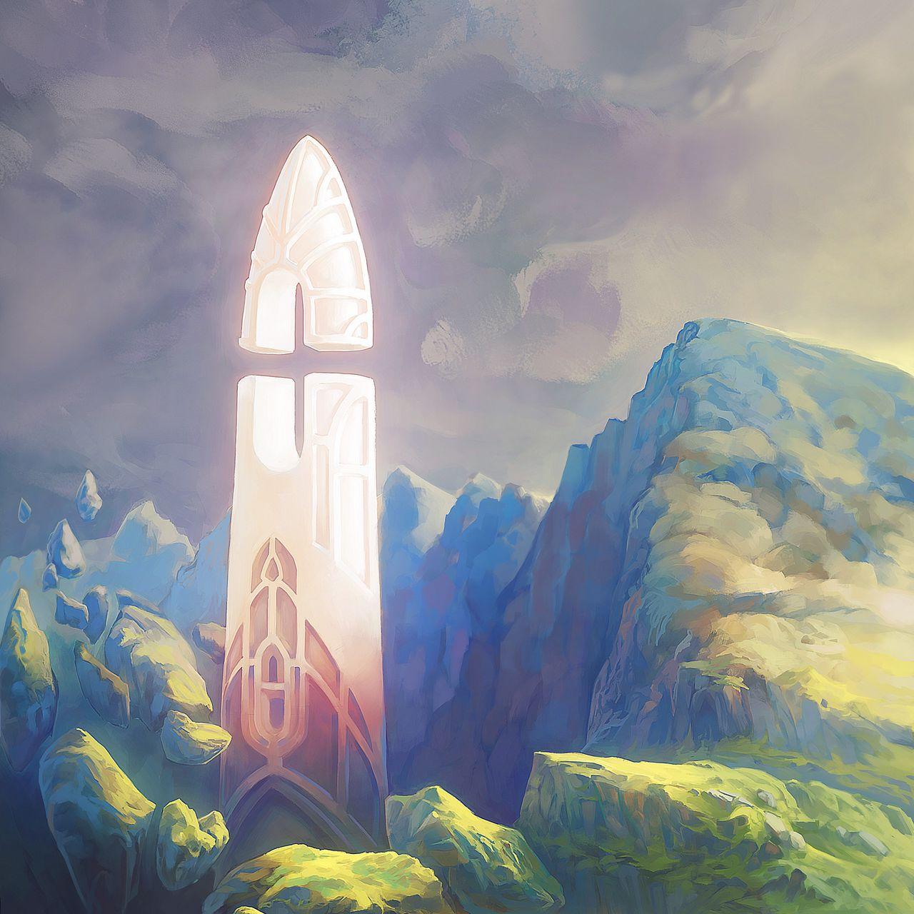 1280x1280 Wallpaper fantasy, tower, rocks, stones, art