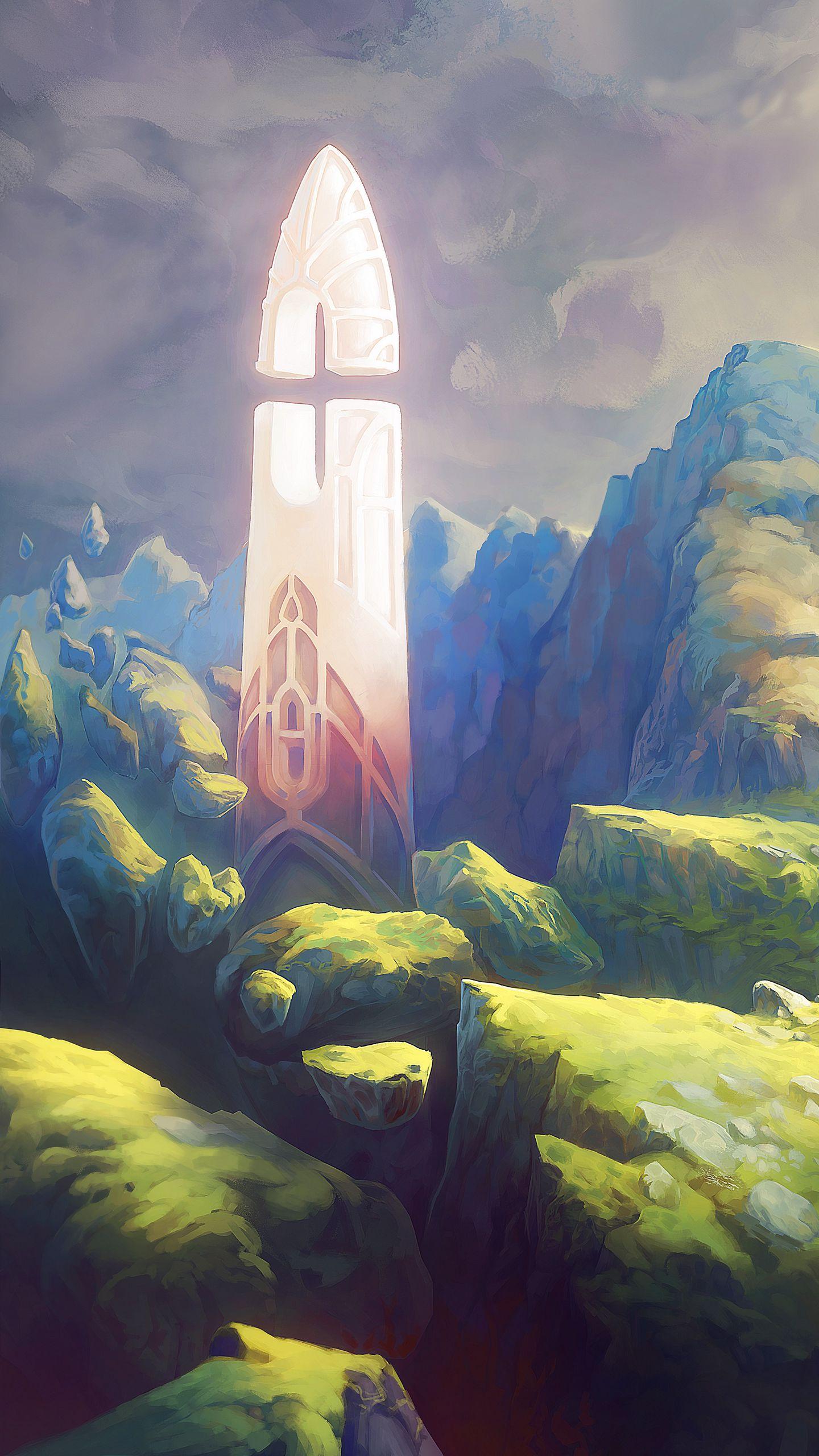 1440x2560 Wallpaper fantasy, tower, rocks, stones, art