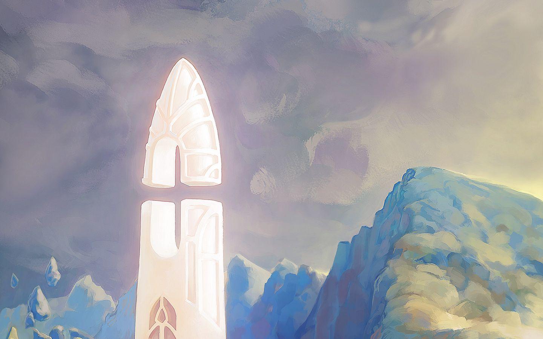 1440x900 Wallpaper fantasy, tower, rocks, stones, art