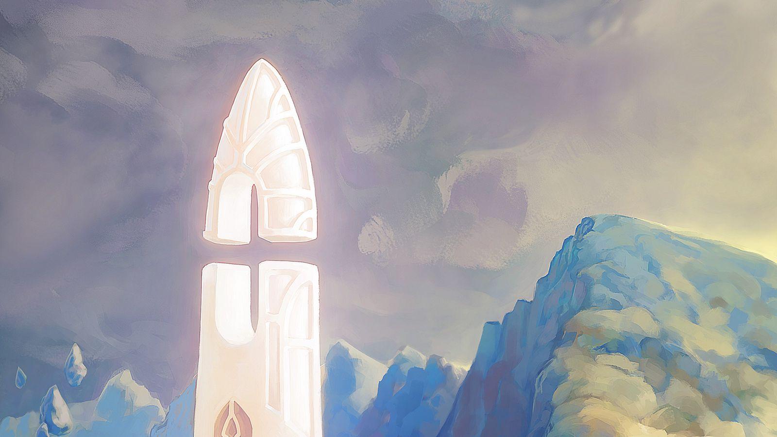 1600x900 Wallpaper fantasy, tower, rocks, stones, art