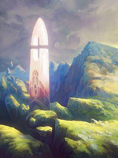 240x320 Wallpaper fantasy, tower, rocks, stones, art