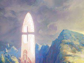 320x240 Wallpaper fantasy, tower, rocks, stones, art