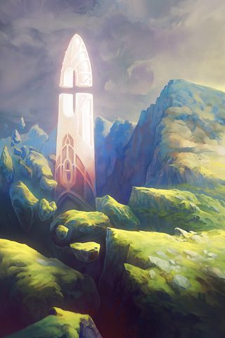 320x480 Wallpaper fantasy, tower, rocks, stones, art