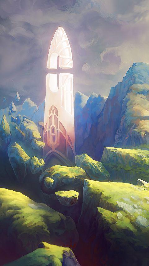 480x854 Wallpaper fantasy, tower, rocks, stones, art