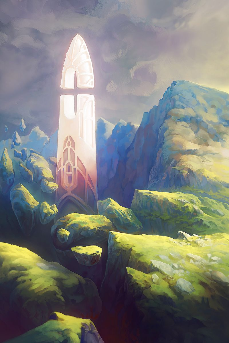 800x1200 Wallpaper fantasy, tower, rocks, stones, art