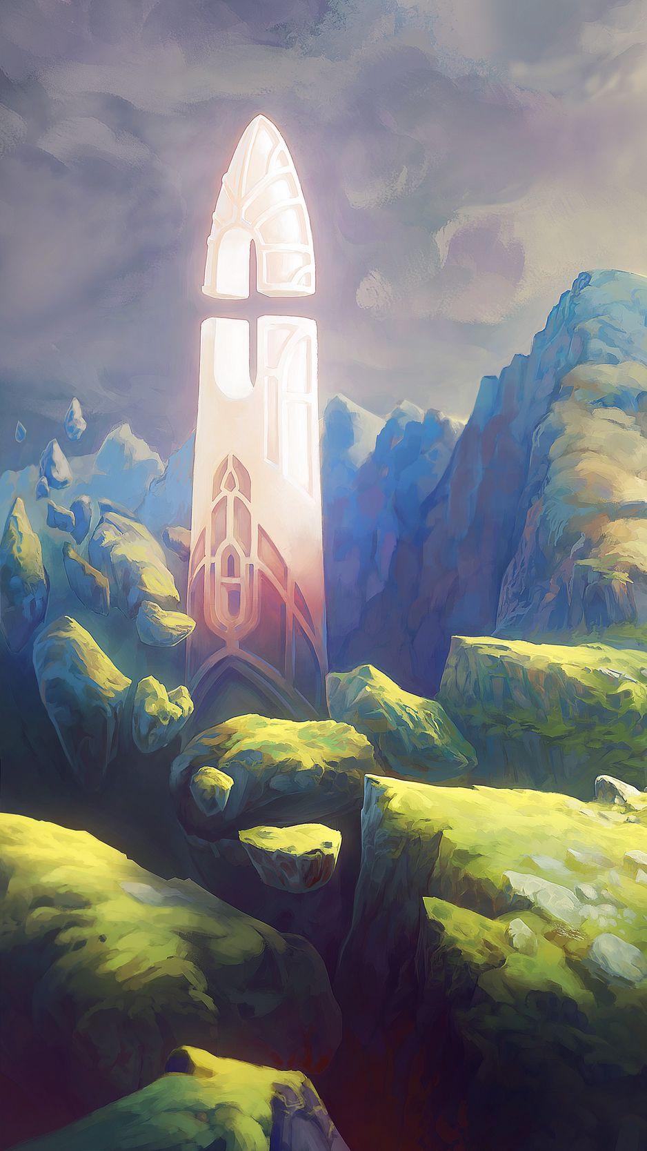 938x1668 Wallpaper fantasy, tower, rocks, stones, art