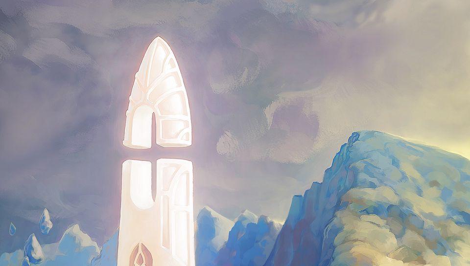 960x544 Wallpaper fantasy, tower, rocks, stones, art