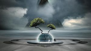 Preview wallpaper fantasy, tree, clouds, fog, ball, mountain
