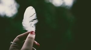 Preview wallpaper feather, hand, lightness, fingers