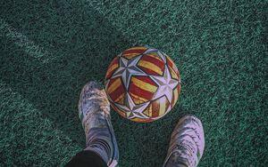 Preview wallpaper ball, legs, football, lawn