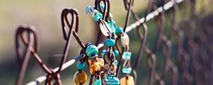 Preview wallpaper fence, jewelry, macro, bracelet, beads, background, nature, moods, accessory, net