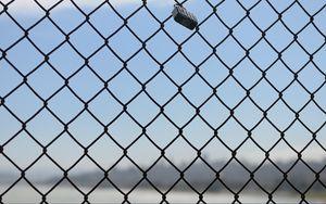 Preview wallpaper fence, mesh, metal, sky, blue