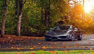Preview wallpaper ferrari, 430, scuderia, park, autumn, auto