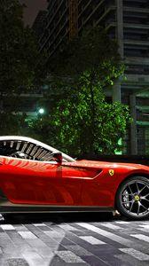 Preview wallpaper ferrari, 599, gto, red, supercar, night, parking, city, light, building