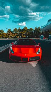 Preview wallpaper ferrari, car, red, parking