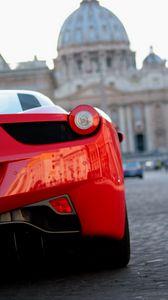 Preview wallpaper ferrari, car, red, tailight, back view