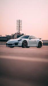 Preview wallpaper ferrari, car, sports car, side view, white