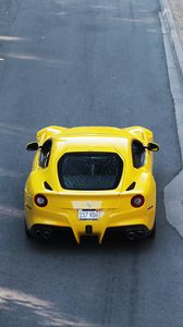 Preview wallpaper ferrari, car, sports car, yellow, aerial view