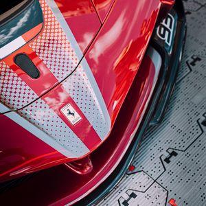 Preview wallpaper ferrari, car, sportscar, red, front view
