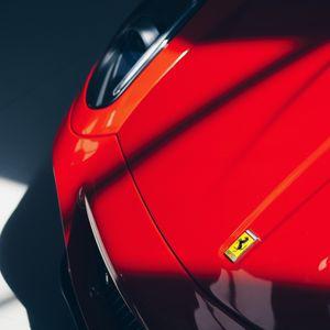 Preview wallpaper ferrari, car, sportscar, red, emblem