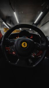 Preview wallpaper ferrari, car, wheel, steering, first person view