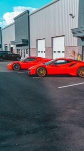 Preview wallpaper ferrari, cars, sports cars, red, parking, building