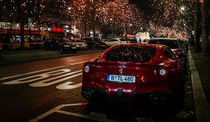 Preview wallpaper ferrari, rear view, red, night city, scenery