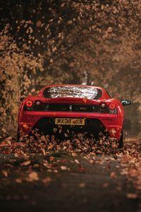 Preview wallpaper ferrari, scuderia, racing, red, rear view, autumn
