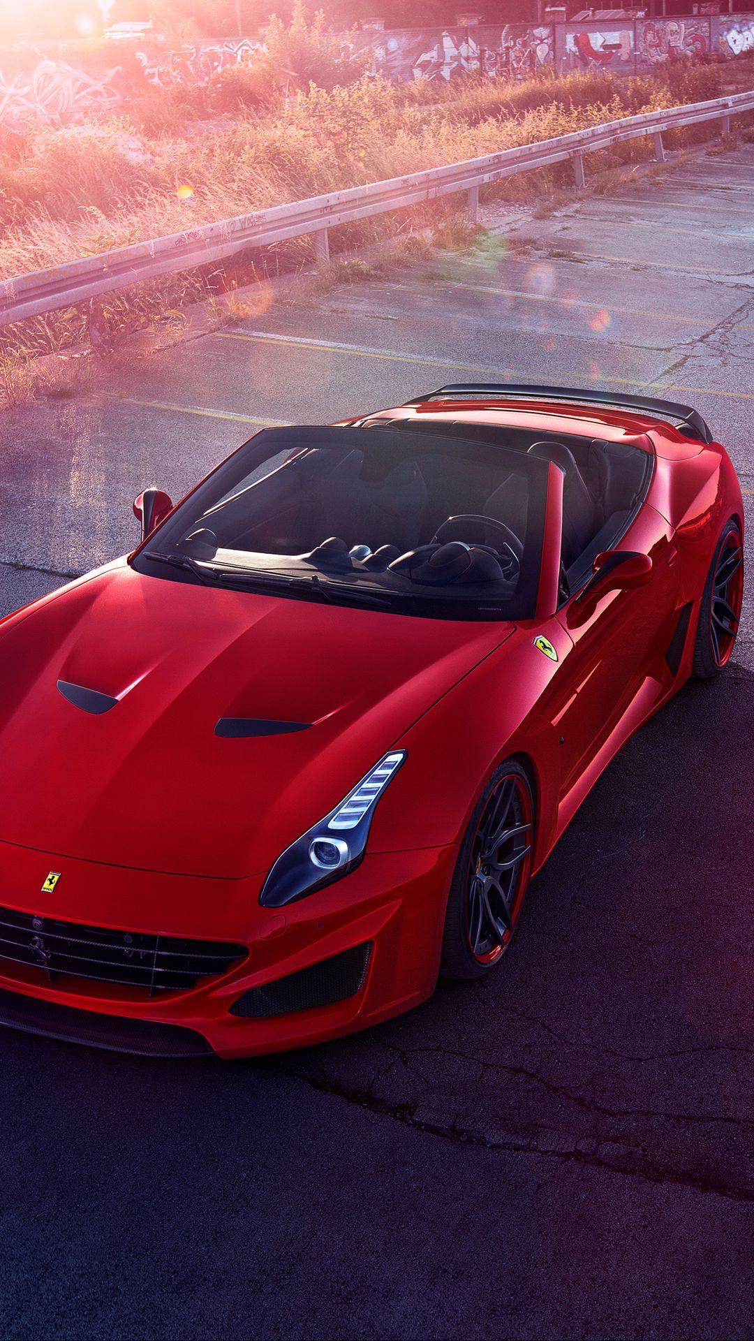 1080x1920 Wallpaper ferrari, sports car, convertible, red