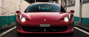Preview wallpaper ferrari, sports car, red, front view