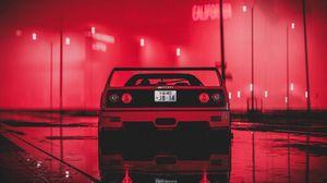 Preview wallpaper ferrari, sportscar, red, wet, neon, night