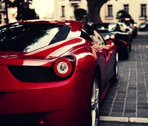 Preview wallpaper ferrari, veyron, bugatti, black, italy, red