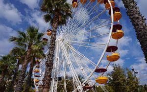 Preview wallpaper ferris wheel, amusement, palm trees