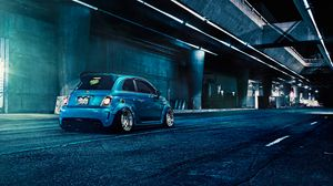 Preview wallpaper fiat, 500, abarth, blue, rear view