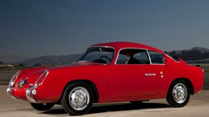 Preview wallpaper fiat, abarth, 750gt, red, retro, side view, car, nature