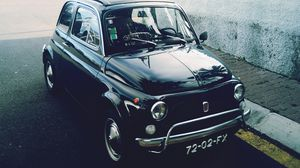 Preview wallpaper fiat, car, side view, black, retro