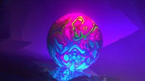 Preview wallpaper fiction, fantasy, ball, colorful, rocks, glow