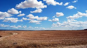 Preview wallpaper field, clouds, grass, sky, road