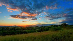 Preview wallpaper field, hills, grass, sunset