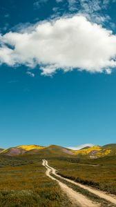 Preview wallpaper field, hills, path, landscape, nature