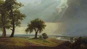 Preview wallpaper field, tree, art, grass, sky