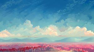 Preview wallpaper field, tulips, flowers, art, sky, clouds