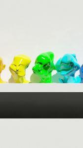 Preview wallpaper figure, diversity, multi-colored, shelf, figurines